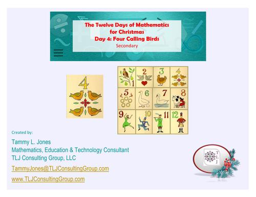 Twelve Days of Mathematics for Christmas-Day 4-Secondary