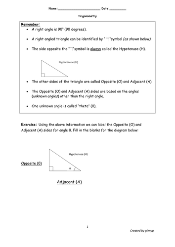 Simplified Trigonometric Ratios Worksheet with answers by glenyp ...