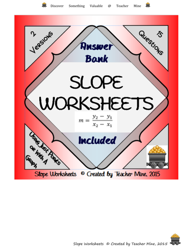 Slope Worksheets by TeacherMine - Teaching Resources - Tes