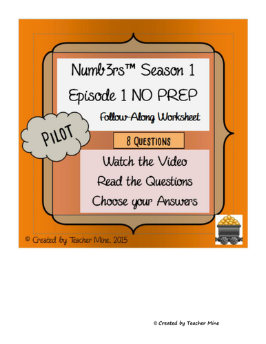 Numb3rs™ Season 1 Episode 1 Pilot Follow-Along Worksheet by ...