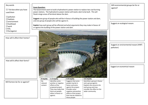 QWC Writing Frame with picture prompt - Hydroelectric Power Balanced Argument