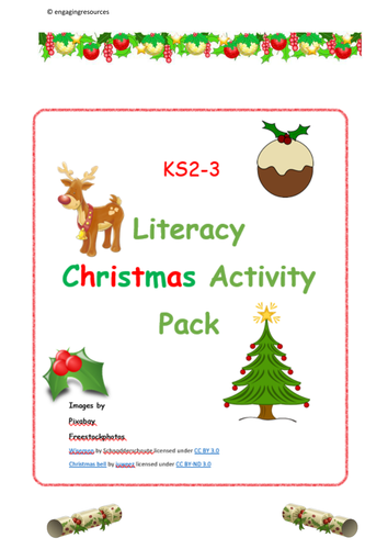 Christmas Activity Pack  KS2 and KS3 English and Literacy by