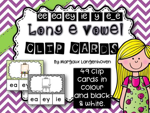 Long E Vowel Clip Cards