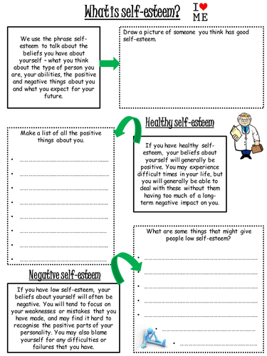 Self Esteem Worksheet By Lharris24 Teaching Resources Tes