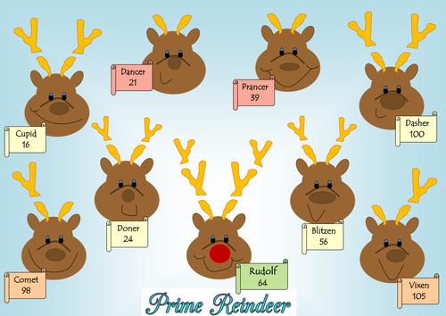Christmas reindeer prime factor decomposition prime factor trees – Factor Trees Worksheets