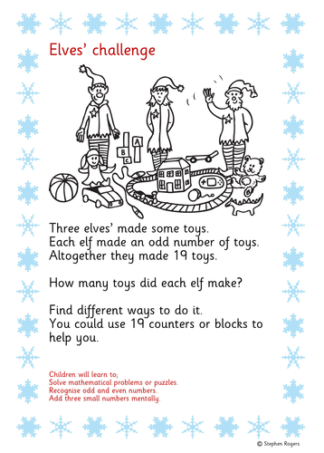 Christmas Maths puzzle/problem FREE