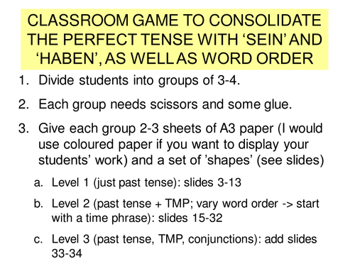 Classroom game to consolidate the perfect tense and word order