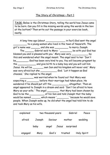 The Christmas Story Cloze Passage By Sazo123 Teaching
