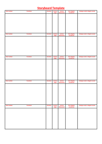 Storyboard Template By Luceyd123 Teaching Resources Tes