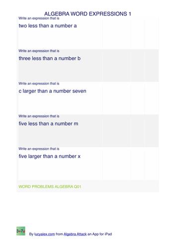 Algebra word expressions