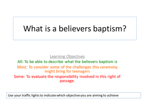 Believers Baptism/confirmation