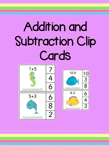 Addition and Subtraction Clip Cards - Fine Motor Skills