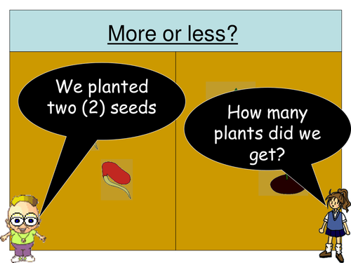 More or Less (PowerPoint) activity for Early Maths (Beans/Plants  and Eggs/Chicks)