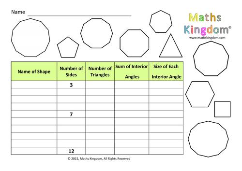 Investigation Interior Angles Regular Polygon By Mathskingdom Teaching Resources Tes
