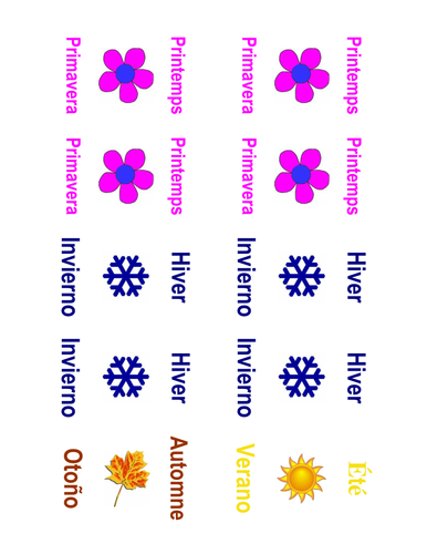 Months and Seasons Memory Match Game (French & Spanish)