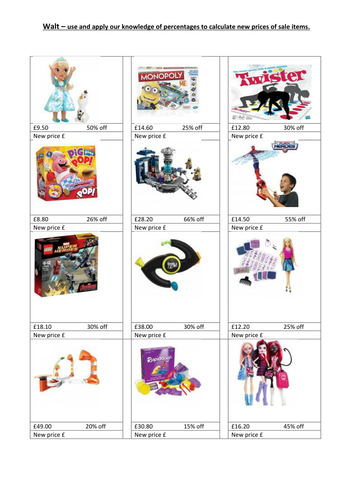 Calculate sale prices for presents/toys using percentages