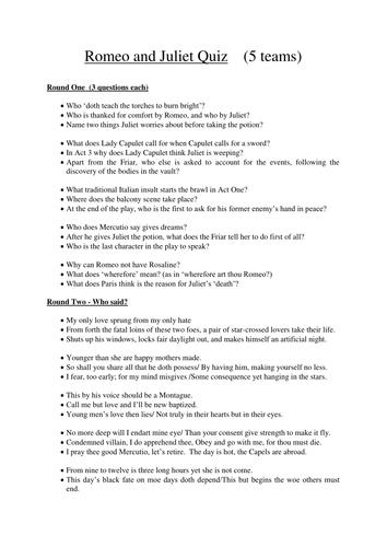Romeo and Juliet pub quiz