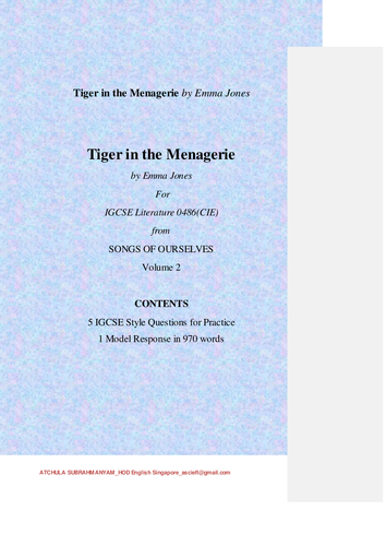 Tiger in the Menagerie by Emma Jones