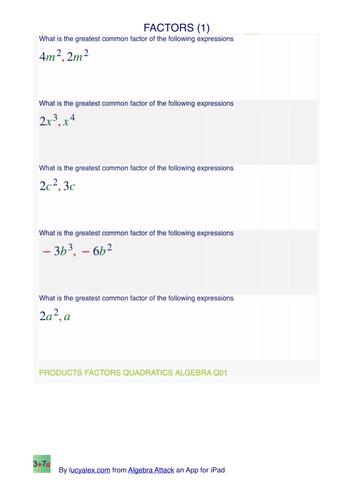Algebra common factors