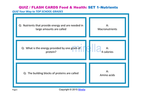 QUIZ / FLASH CARDS  Food & Health: SET 1 – Nutrients