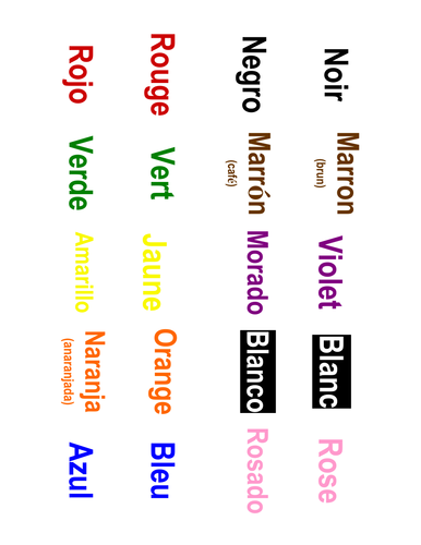 French & Spanish Colors Memory Matching Game