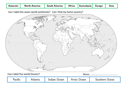 Printables Continents And Oceans Of The World Worksheet continents and oceans of the world worksheet davezan