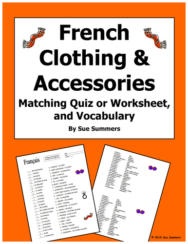 french clothing and accessories matching quiz or worksheet and vocabulary by suesummersshop. Black Bedroom Furniture Sets. Home Design Ideas