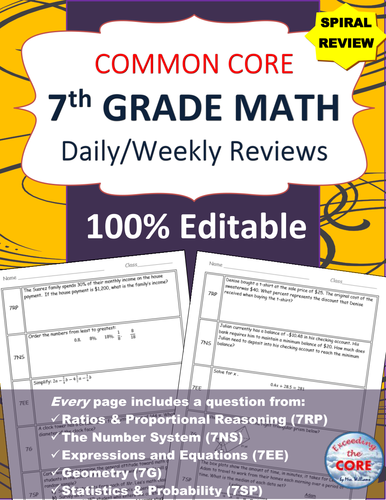 7th Grade Daily / Weekly Spiral Math Review {Common Core} - 100% Editable