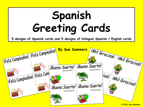 Spanish greeting cards and english bilingual
