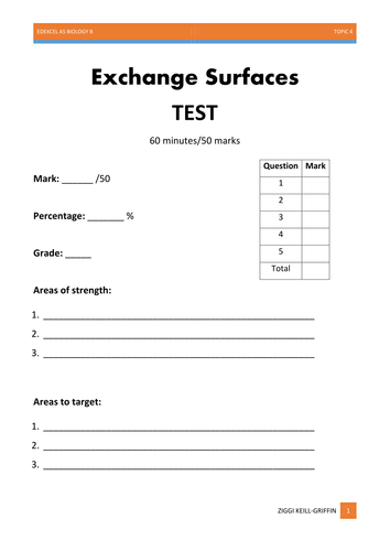 AS Level Biology - Exchange Surfaces TEST and MARK SCHEME