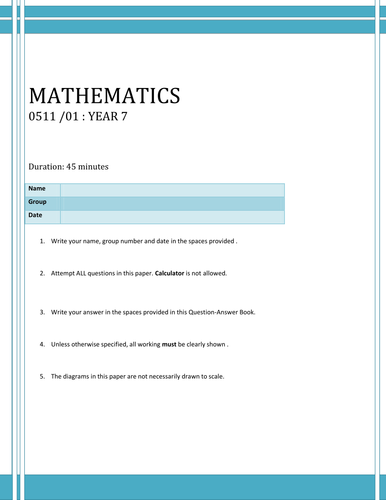 Maths _End of First Term Test Year 8 (Higher Group)/ Mini