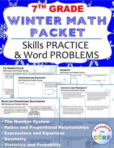 7th Grade Winter / December MATH PACKET - { COMMON CORE}