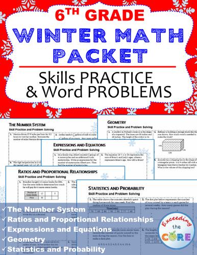 6th Grade Winter / December MATH PACKET - { COMMON CORE}