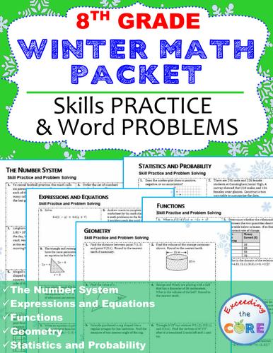 8th Grade Winter / December MATH PACKET - { COMMON CORE}