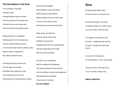 ks3 poetry comparison task give by simon armitage and the hunchback in the park by dylan thomas. Black Bedroom Furniture Sets. Home Design Ideas