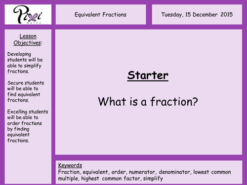 Equivalent fractions simplifying fractions ordering fractions by – Ordering Fractions Worksheet Ks2