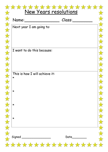 new years resolution and action plan worksheet by miss_tallulah ...