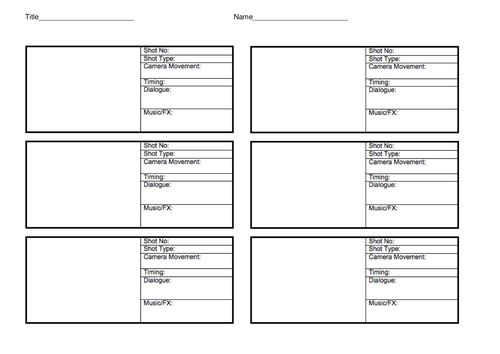 Storyboard Template By Lhenshaw2012 Teaching Resources Tes