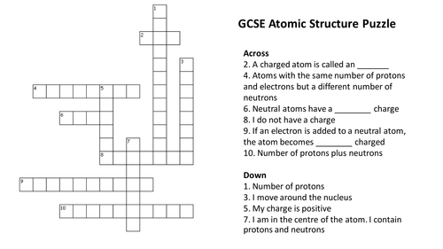 Atomic Structure Crossword Puzzle With Answers By Richardrogersscience