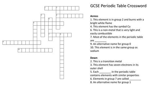 periodic table crossword puzzle with answers by richardrogersscience teaching resources tes