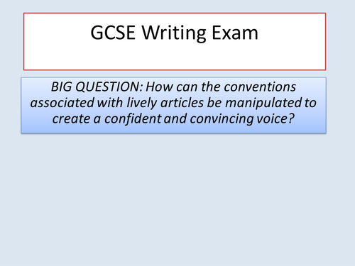 GCSE Lively Article Writing