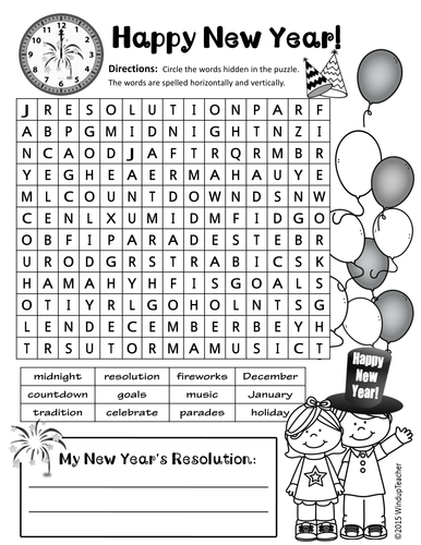 happy new year word search 2 levels by windupteacher