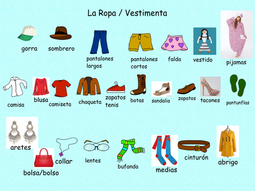 Clothing- Bilingual lesson English and Spanish