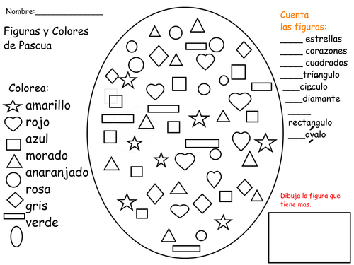 ESL/Spanish shapes, colors, following directions using Easter Eggs
