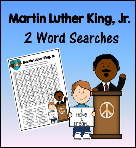 martin luther king jr word searches 2 levels by windupteacher