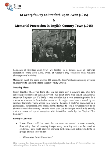 Film-Memorial Procession in English Country Town (1915)