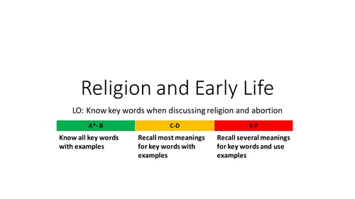 Religion and Early Life AQA SPEC B Unit 2 RELIGION AND LIFE ISSUES