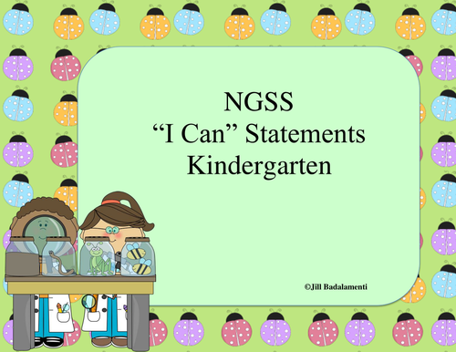 I Can Statements for Kindergarten NGSS