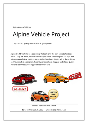 Alpine Quality Vehicles ICT Project  (ICT FS or GCSE)
