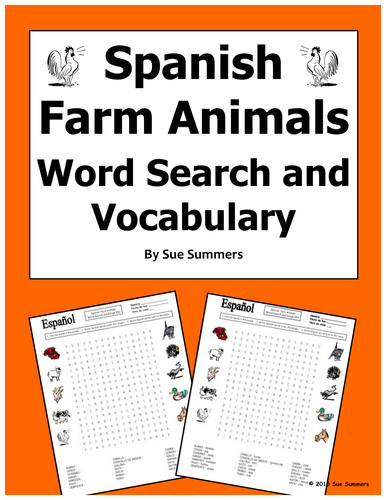 spanish farm animals word search puzzle worksheet and vocabulary by suesummersshop teaching. Black Bedroom Furniture Sets. Home Design Ideas